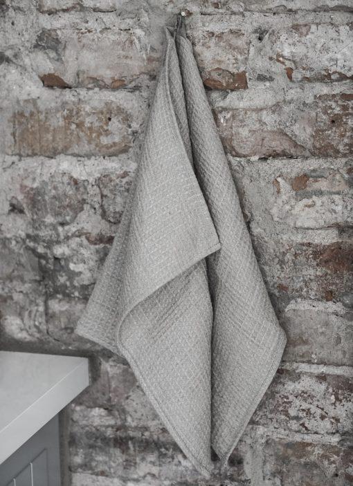 våfflad handduk lin beige Gröna Gredelina